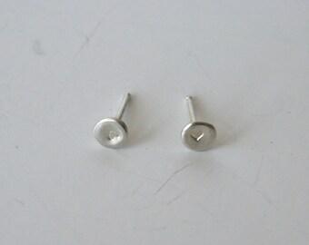 Silver Dot Earrings, Heart Earrings, 4mm Dots, Small Earrings, Tiny Earrings, Childrens Earrings, Adult Earrings, Stud Earrings, Cute