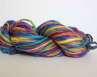 Ready to ship / Rainbow Handspun Yarn Gently Thick and Thin Worsted YARN 50/50 Super wash Merino / Tussah Silk Top 4.30oz