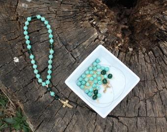 DIY Prayer Bead Kit - Light Green Riverstone and Emerald Fire-Polished Glass