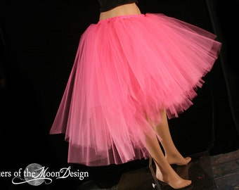 Tulle tutu skirt Hot Pink hi low Virgin Romance trashed dance event poofy knee length fairy costume - You choose size - Sisters of the Moon