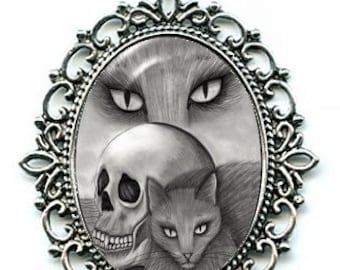 Witch's Black Cat Necklace Vampire Skull Cat Drawing Cat's Eyes Cameo Pendant 40x30mm Gift for Cat Lovers Jewelry
