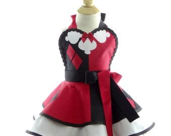 Kids Apron - Children's Harlequin costume Apron - Cute Girls Sweet Villian Costume Apron for Kids Dress Up & Play