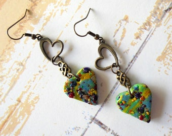 Aqua Blue, Yellow and Brass Heart Earrings (4224)