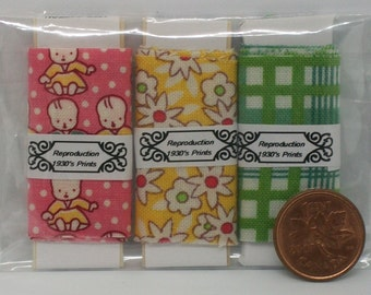 Dollhouse Miniature 3 pack of 1930's or 1800's Reproduction fabric bolts for your mini sewing room