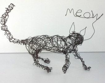 Unique Wire Cat Sculpture - HAPPY MEOW