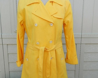 Yellow Trench Coat by Oscar De La Renta - Size 12P