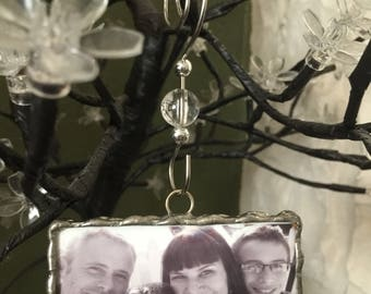 """Photo charm, photo ornament, soldered glass charm, Memorial photo charm, 2"""" x 3"""" charm, personalized gift, custom made, memorial photo charm"""