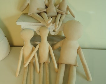Cloth Rag Doll Lot of 6 forms-muslin bodies for crafting-katiesdolls