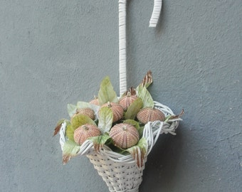 Shabby Chic Flower Basket with Sea Urchin Flowers Wall hanging Door Hanger decor