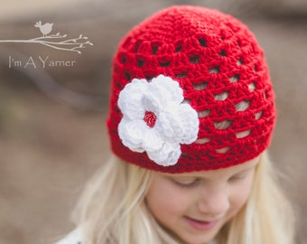 Crochet Hat for Kids, Red Hat, Spring Hat, Baby Girl Clothes, Mother Daughter Hats, Mommy and Me Outfits, Crochet Hats for Women, Baby Hat