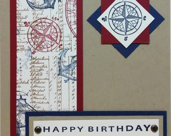 Masculine Birthday Card, Stampin Up Birthday Card, Handmade Card, Nautical Card, Card For Him, Greeting Card