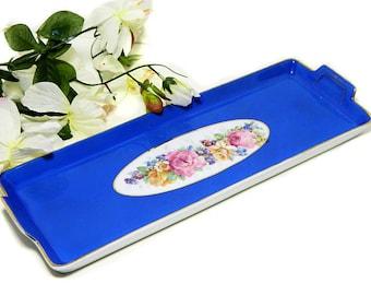 Antique Rectangular Porcelain French Blue Floral Dresser Tray