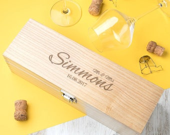 Engraved Spirits Or Wine Box Personalised Wedding Gift (BOTTLE NOT INCLUDED)