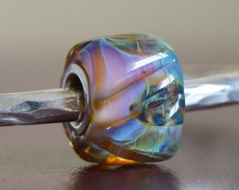 Unique Handmade Lampwork Glass European Charm Bead with Silver Glass with Solid Core - SRA - Fits all charm bracelets