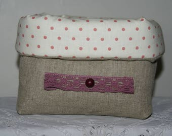 Fabric basket Organizer quilted linen and old Pink Ribbon