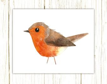 European Robin Print -- bird art -- colorful bird art by stephanie fizer coleman illustration