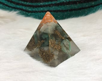 Emerald, Quartz, Copper, and Brass Orgone Pyramid - Tower Buster - Heart Crown Chakra Meditation Reiki - May Birthstone Gemini Taurus