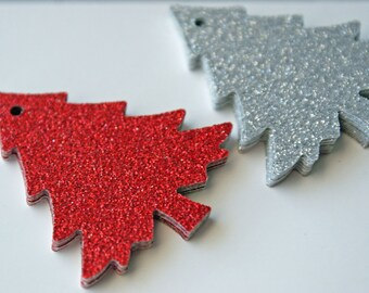 Silver and red glitter Christmas tree gift tags - Set of 48