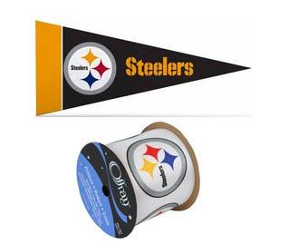"2.5"" NFL Pittsburgh Steelers Ribbon, 9 feet & Mini Pennant, Licensed NFL Offray Ribbon"