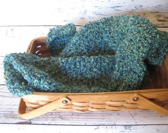 Blue and green  Crochet Baby Blanket Stroller Baby boy Afghan Blanket Throw Textured Thick Cozy Warm Home Decor