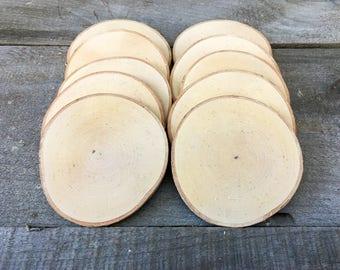"""25 Birch wood slices 3.5"""" - 4.5"""""""