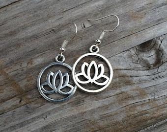 Lotus Circle Earrings, Charm Earrings, Lotus, Yoga Earrings, Gift for her, Birthday Gift, Christmas Gift, Gift for Mom, Gift for Women