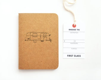 Pocket Travel Journal, Small Travel Notebook with Vintage Airstream Illustration | Hand Illustrated Traveler's Journal