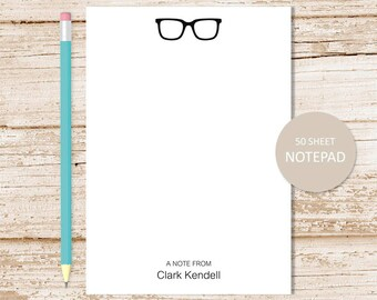 personalized notepad . glasses notepad . eyeglasses note pad . personalized stationery . glasses stationary notepad