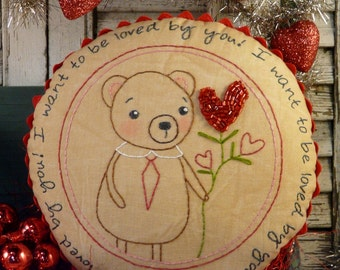 Valentine Teddy bear embroidery Pattern PDF - stitchery pillow LOVE red beads rick rack new vintage like heart primitive