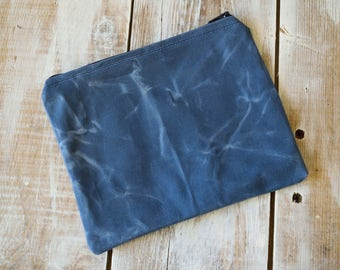 Blue Zippered Pouch,Waxed Canvas Zippered Pouch,Waxed Canvas Bag,Waxed Canvas Clutch,Canvas zipper pouch,Blue Coin Purse,Canvas Coin Purse