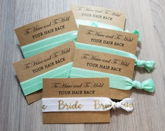 Mint Bridal Set | To Have and To Hold Your Hair Back Favors | Bachelorette Party Favors | Bachelorette Hair Ties | Hair Tie Favors