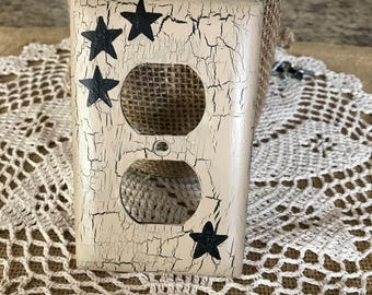 Primitive switch plate covers  barn star black star