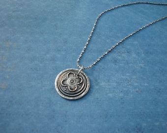 Fine Silver PMC 4 Petal Flower Pendant Handcrafted