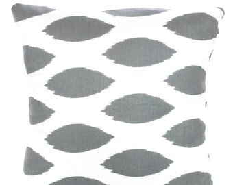 Gray Ikat Pillow Covers, Decorative Pillows Cushion Cover Grey White Chipper, Couch Pillows, Euro Sham, Throw Cushion, One or More All Sizes