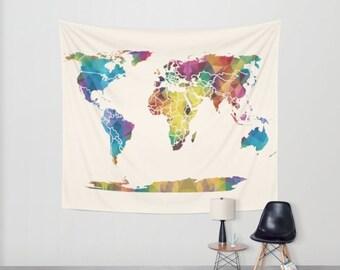World Map Tapestry Wall hanging - geometric map, jewel tones, triangles, beautiful map, travel decor, wall atlas, dorm, apartment