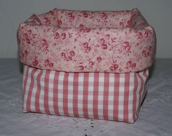 Fabric basket Organizer padded pink gingham and pink flowers