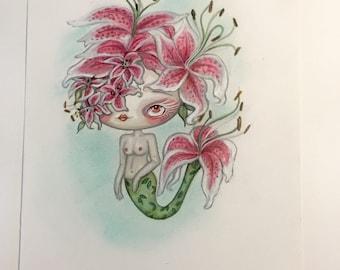 Pink lily mermaid girl art painting mixed media art mermay flowers sping cute girl