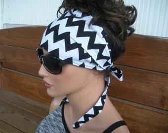 Women's Headband Fabric Headband Summer Accessories Women Head scarf Headwrap Yoga Headband in Black and White Chevron Print