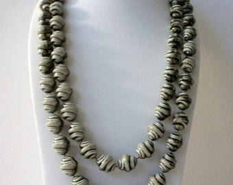 ON SALE Retro Beehive Very Long Molded Plastic Beads Necklace 83017