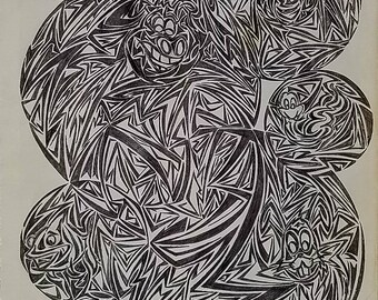 Original Modern Abstract Drawing, contemporary art, abstract art, original abstract art, geometrical art