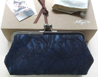 Black Alencon Paisley Lace on Navy Satin Clutch | Bridesmaid Clutch | Bridal Clutch