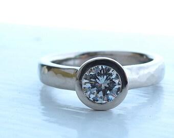 Tous les temps bague diamant profil bas et recyclé or blanc bague de fiançailles, des femmes serti, bague de fiançailles diamant GIA