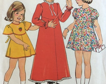 Simplicity 8321 girls dress in two lengths size 5 vintage 1970's sewing pattern