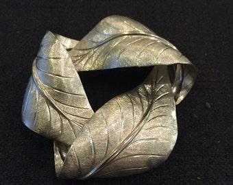 Leaf Design, Vintage Brooch, Silver Tone