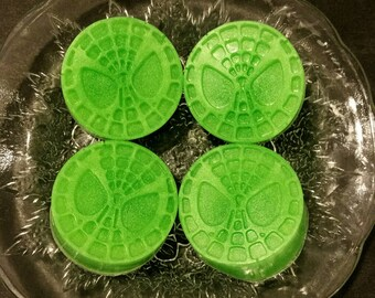 Spiderman Soap / Comic Soap / Party Favors / Stocking Stuffers / Gift for Him / Gift for Her / Geeky Soap Set of 4