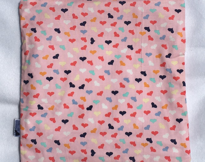 Hearts on Hearts on Hearts PUL Lined Wet Bag with Zipper Close