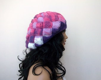 Colored slouch hat-Behind baggy beret (purple-lilac-pink)