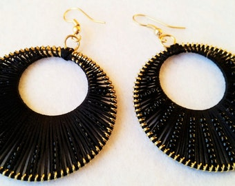Hoop Earrings, Cotton Hoop Earrings, Brass Hoop Earrings, Beaded Earrings, Boho Earrings, Gypsy Style Earrings, Jewellery,