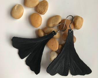 Black leather mermaid tail earrings