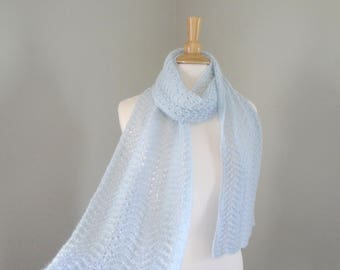 Pale Blue Cashmere Knitted Scarf, Long Lightweight Wrap Scarf, Lacy Scallop Design, Pure Cashmere, Luxury Womens Scarf